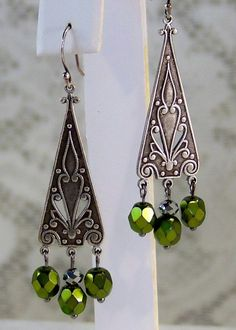 Vintage/ Victorian Style- Antiqued Silver- Olivine- Chandelier Earrings- Handmade Jewelry Gift for Woman/ Her