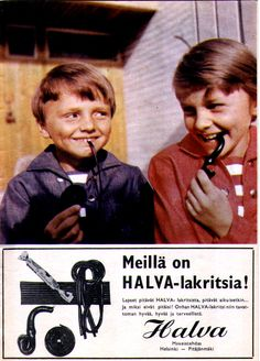 Halva-lakritsi - 1966 Vintage Humor, Vintage Ads, Vintage Posters, Old Commercials, Old Advertisements, Magazine Articles, Teenage Years, Old Toys, Album Covers