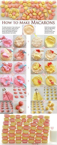 SugaryWinzy How to Make Macarons - French Meringue Method More This is a big batch recipe for simply wonderful basic macarons. You can make half a recipe or, if making the full recipe, make macarons in two colors. Cupcakes, Cupcake Cakes, Cookie Recipes, Dessert Recipes, Recipes Dinner, Cupcake Recipes, How To Make Macarons, Making Macarons, How To Make Meringue