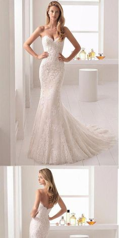 Stunning Tulle & Lace Sweetheart Neckline Mermaid Wedding Dress With Lace Appliq. - Stunning Tulle & Lace Sweetheart Neckline Mermaid Wedding Dress With Lace Appliques - Strapless Lace Wedding Dress, Pretty Wedding Dresses, Sweetheart Wedding Dress, Lace Mermaid Wedding Dress, Perfect Wedding Dress, Mermaid Dresses, Wedding Dress Styles, Wedding Attire, Bridal Dresses