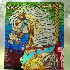 Carousel Horse Glass Mosaic by Wolfblue Design Amazing Peace of Work Stained Glass Designs, Stained Glass Projects, Stained Glass Patterns, Stained Glass Art, Wood Mosaic, Mosaic Art, Mosaic Glass, Mirror Painting, Fabric Painting
