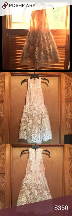 Alice + Olivia 'Ladonna' Lace Fit & Flare Dress Gorgeous Alice + Olivia Dress. Only worn twice for a bridal event and my rehearsal dinner.  Great condition. My favorite dress. Only 2nd to my wedding dress 💕 Alice + Olivia Dresses