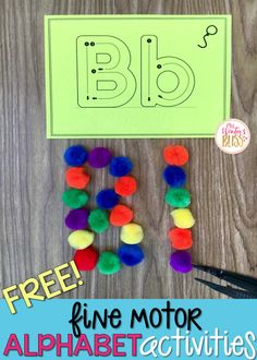 Fine motor alphabet activities are a fun learning center for preschool and kindergarten Alphabet Activities, Motor Activities, Alphabet Crafts, Language Activities, Reading Activities, Guided Reading, Learning Centers, Fun Learning, Preschool Learning