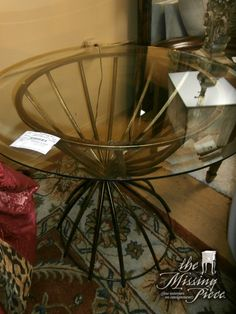 """Uttermost, metal accent table with 32"""" glass top. Sorry, by the time I posted this there is just one left."""
