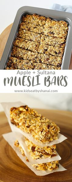Recipes Snacks Bars Apple and Sultana Muesli Bars, nut free and perfect for school lunchboxes, by Kids Eat by Shanai Healthy Muesli Bar Recipe, Healthy Mummy Recipes, Healthy Baking, Homemade Muesli Bars, Muesli Recipe, Healthy Lunchbox Snacks, Healthy School Snacks, Healthy Snacks For Kids, School Lunches