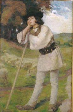 Shepherd: Hippolytus Strâmbu (May 1871 - October Romanian painter Hermes is guardian of Shepards Sheep And Lamb, The Shepherd, Love Pictures, Romania, Art Forms, Art History, Costumes, Folk Costume, Scene