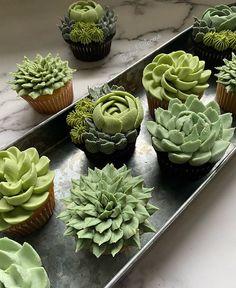 Custom Cupcakes, Fun Cupcakes, Cupcake Cakes, Cupcake Flavors, Cupcake Recipes, Muffins Decorados, Succulent Cupcakes, Cute Desserts, Cake Decorating Techniques