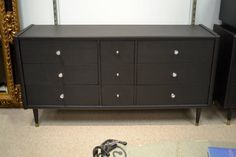 Long Sleek Mid Century Modern Dresser with New Contemporary and Crystal Hardware - 9 Dovetailed Drawers ( 3 cute small ones) - Funky Purple Interior - Measurments to come - sorry!
