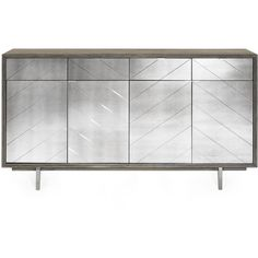 Layna Chevron-Mirrored Console Chest featuring polyvore, home, furniture, storage & shelves, sideboards, rustic gray, eglomise furniture, gray buffet, grey painted furniture, door furniture and gray painted furniture
