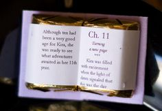 Make a miniature personalized book favor out of candy for a book-themed birthday, shower or wedding. Or make scriptures for a church event.