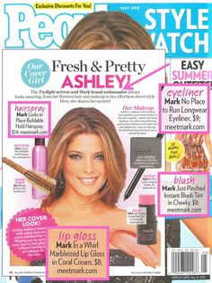 mark Brand Ambassador Ashley Greene featured in the May Issue of People Style Watch Magazine with mark's Locks in Place Buildable Hold Hairspray, In A Whirl Marbleized Lip Gloss in Coral Cream, Just Pinched Instant Blush Tint in Cheeky, No Place to Run Longwear Eyeliner and I-marks Wet/Dry Eye Shadow in Corset