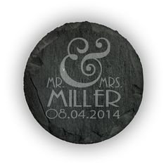 Round Slate Coasters (set of 4)  - Mr. & Mrs. Personalized with date