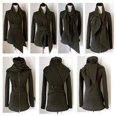 Statement Tie Fleece Knit Sweater Jacket...Storm Grey 165.00