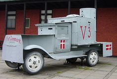 Railway shop workers in Frederiksværk built this armored car for offensive use by the Danish resistance. It was employed against Danish Nazis, known as the Lorenzen group, entrenched in the plantation of Asserbo in North Zealand, May 5, 1945.