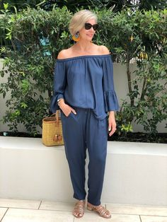 Luxe elegance from head to toe in this stunning Slate Blue Pants and OTS Top from ⠀ Teamed with gold accessories & stunning earrings from it completes the total look 💫 —— Outfit Styled by Linda⠀ . 60 Fashion, Mature Fashion, Older Women Fashion, Over 50 Womens Fashion, Fashion Over 50, Fashion Outfits, Fashion Trends, Fashion Clothes, Fashion Boots