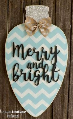 Christmas Light Bulb Ornament Door Hanger Merry and Bright Blue Silver Glitter CHEVRON 28X16 Rustic wood Decor Hanging painted wooden sign on Etsy