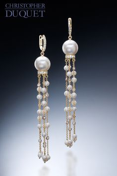 New earrings that are true shoulder dusters! A mix of pearls, diamonds, and yellow gold, wonderful movement and dramatic design for an elegant evening out. Created by Christopher Duquet Fine Jewelry. #earrings #pearls
