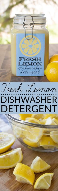 Garden Illustration Looking for an easy, all-natural recipe for homemade dishwasher detergent? This Fresh Lemon Homemade Dishwasher Detergent uses real lemons, salt and vinegar to make liquid dishwasher detergent that is effective and non-toxic. Deep Cleaning Tips, House Cleaning Tips, Green Cleaning, Spring Cleaning, Homemade Cleaning Products, Cleaning Recipes, Natural Cleaning Products, Cleaning Hacks, Cleaning Solutions
