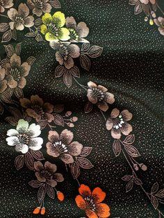 Black Gold Sakura Cherry Blossom Pongee Vintage Japanese Kimono Silk Fabric 52 | eBay
