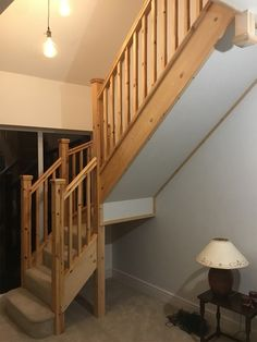 A single winder staircase with traditional handrail. The bottom newel has been designed so it slots around the string rather than going through the string. All parts of the staircase are in softwood. Bespoke Staircases, Wooden Staircases, Curved Staircase, Staircase Design, Glass Stairs, Metal Stairs, Wooden Stairs, Stair Builder, Ladders