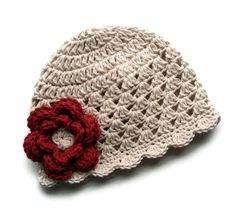 Baby Girl Hat, Crochet Baby hat, Toddler Crochet Hat, Ecru and Country Red, MADE TO ORDER. $18.00, via Etsy.