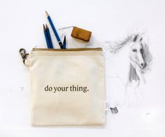 Personalize It Zipper Pouch Canvas Quote Typography by AppleWhite, $16.00