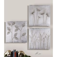 Uttermost Sterling Trio Canvas Art Set of 3 34204