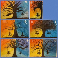 Art Room Britt: Silhouetted Day and Night Tree - Art Education ideas Halloween Art Projects, Fall Art Projects, School Art Projects, Art Education Projects, Halloween Kids, Color Art Lessons, 6th Grade Art, Ecole Art, Fantasy Kunst