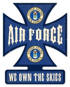 Vintage and Retro Wall Decor - JackandFriends.com - Retro Air Force Iron Cross Tin Sign, $58.97 (http://www.jackandfriends.com/retro-air-force-iron-cross-tin-sign/)