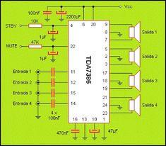 Revista ELEKTRONIKA: Simple Amplificador de 4 Vías 30 wats.