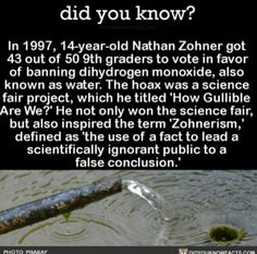 Did you know? In Nathan Zohner got 43 out of 50 graders to vote in favor of banning dihydrogen monoxide, also known as water. The hoax was a science fair project, which he titled 'How Gullible Are We?' He not only won the science fair The More You Know, Good To Know, Did You Know, Wtf Fun Facts, Random Facts, Uber Facts, Creepy Facts, Funny Facts, Random Stuff