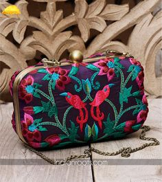 Navy blue silk clutch with multi-colour thread embroidery by Karieshma Sarnaa on Indianroots.com Indian Accessories, Bags 2014, Bridal Clutch, Craft Bags, Summer Bags, Party Bags, Embroidered Silk, Baggage, Clutch Purse