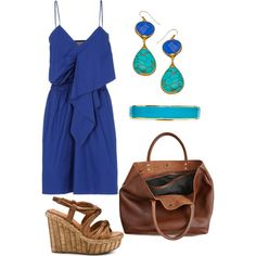 Summer, navy dress, teal jewelry.