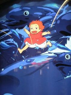 Ponyo escaping to Sousuke, bringing a magical tsunami with her!