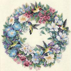 hummingbird cross stitch wreath by dimensions | Dimensions Needlecrafts Counted Cross Stitch, Hummingbird Wreath