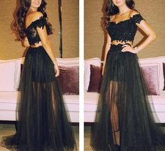 Pretty Black Two Piece Tulle Lace Applique Off Shoulder Prom Gowns, Black Prom Dressses,#prom,#dress