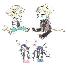 Aww~ precious babies~ (Miraculous Ladybug, kitty, Adrien, Marinette, 2D, Felix, chibi, cute)
