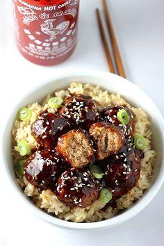 Sriracha Teriyaki Meatball Bowls