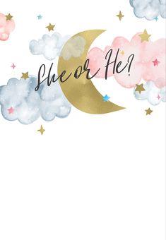 Over the moon - Gender Reveal Invitation Template (Free) Gender Reveal Party Games, Gender Reveal Themes, Gender Reveal Party Invitations, Gender Reveal Party Decorations, Gender Party, Baby Shower Gender Reveal, Reveal Parties, Vintage Carpet, Deco Baby Shower