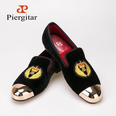 2015 New Style Velvet Men Shoes Metal toe with hand embroidery Smoking loafers Free Shipping