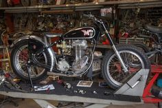 A 1957 Matchless G80 RR. It's rare; only 50 were made and only 13 exist today. Matchless produced this model to compete with BSA's Gold Star in American dirt track racing. Davis has spent the last nine years tracking down parts for this bike.