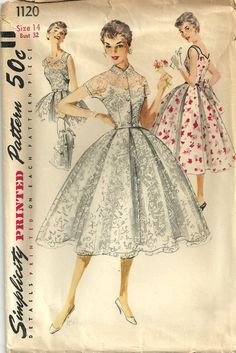 Vintage Fifties Sewing Pattern from Simplicity 1120 Dress Size 14. $16.50, via Etsy.