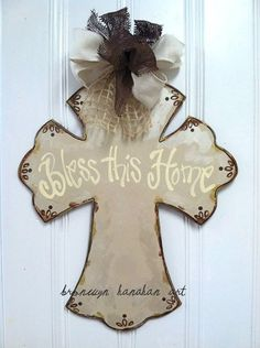 Vintage Inspired Cross Door Hanger Bronwyn by BronwynHanahanArt