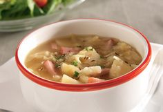 Mouthwatering, traditional flavors come together in this delicious soup recipe. Ham, Potato and Cabbage Soup is great for a frigid day when you are looking for something to warm the body and the soul. A satisfying soup that is reminiscent of mom's ki Cabbage Potato Soup, Ham And Potato Soup, Cabbage And Potatoes, Cabbage Soup Recipes, Ww Recipes, Dinner Recipes, Cooking Recipes, Cooking Tips, Dinner Ideas