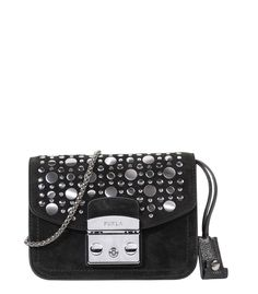 Black suede crossbody bag with silver embellishments and a chain strap.