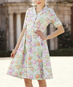 This Purple & Green Orchard Snapdragon A-Line Dress by Shabby Apple is perfect! #zulilyfinds