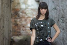 Slovak artist Alexandra Barth wearing our Trú meets Sewologylab graphic tee http://sewologylab.com/girl-olive-tee