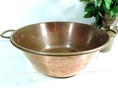 French Vintage Copper Jam Pot/French Vintage Large Copper Pot/Vintage Copper Basin/Vintage Jam Pot/Copper Basin by SouvenirsdeVoyages on Etsy