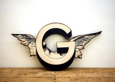 Black and White Cherub Wing Letter G Vintage Inspired -  Wood Wall Decor on Etsy, $40.00