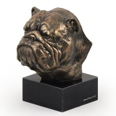 ENGLISH BULLDOG marble  figurine sculpture head Cold Cast Bronze